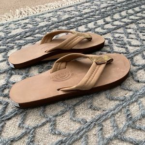 Rainbow leather flip flops size small